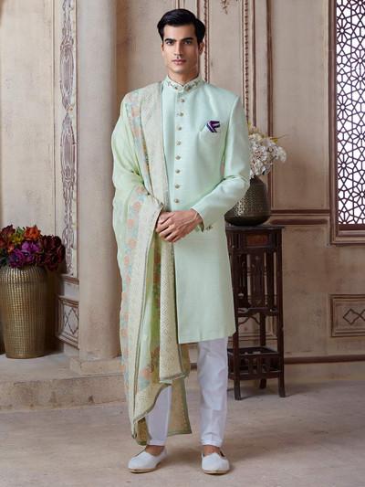 Pista green raw silk groom sherwani