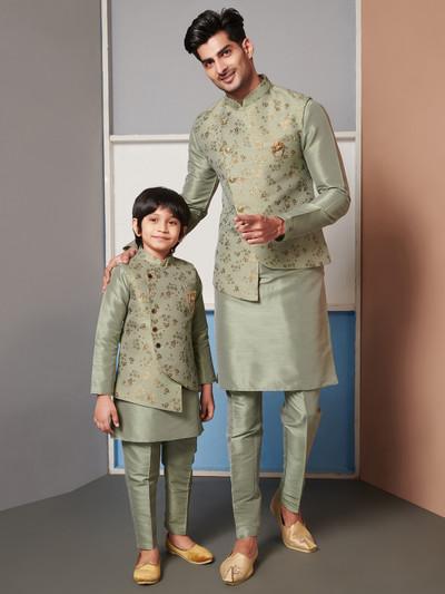 Pista green raw silk waistcoat set party wear for father & son