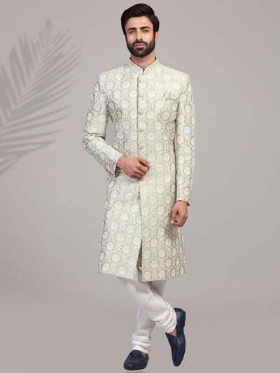 Pista green silk mens sherwani