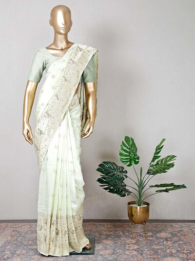Pista green raw silk wedding functions saree