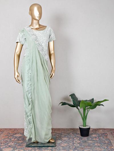 pista green silk wedding wear palazzo suit