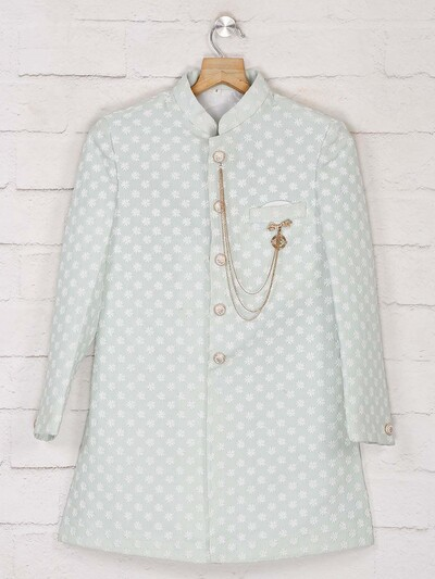 Pista green terry rayon designer indo western for wedding
