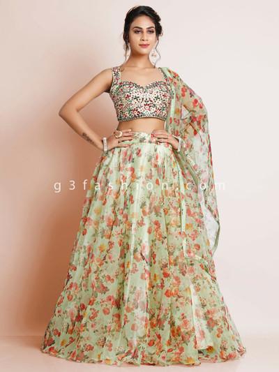 Pista green tissue silk wedding functions lehenga choli