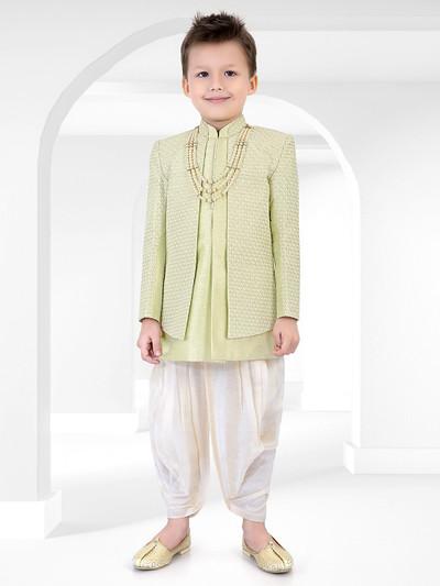 Pista green wedding wear dhoti style cotton silk indo wetsern