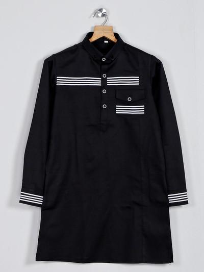 Plain black cotton pathani suit for boys