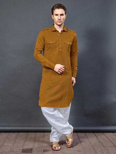 Plain mustard yellow cotton pathani suit