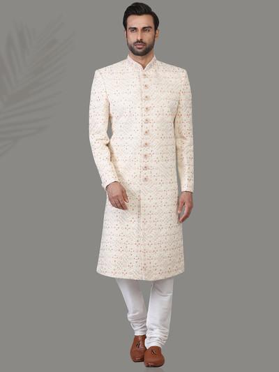 Precious cream jacquard silk sherwani ideal for wedding