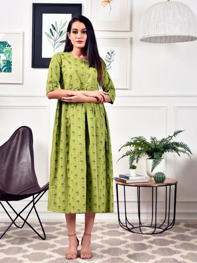 Precious green casual wear cotton kurti