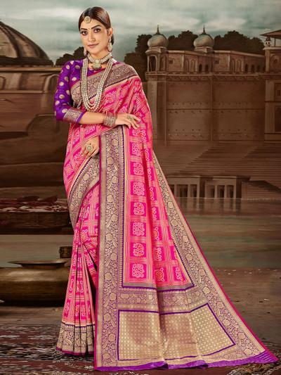 Precious magenta banarasi silk wedding session saree