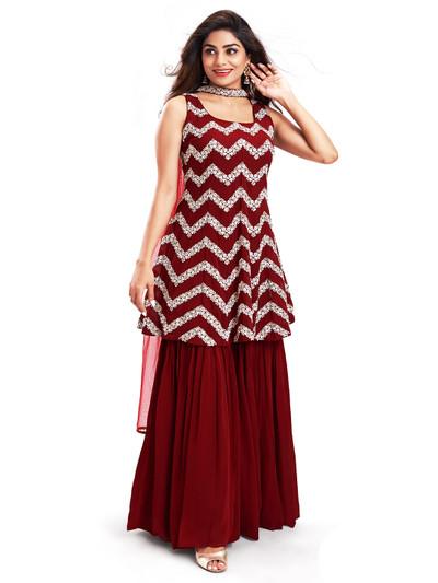 Precious maroon punjabi style festive wear salwar suit