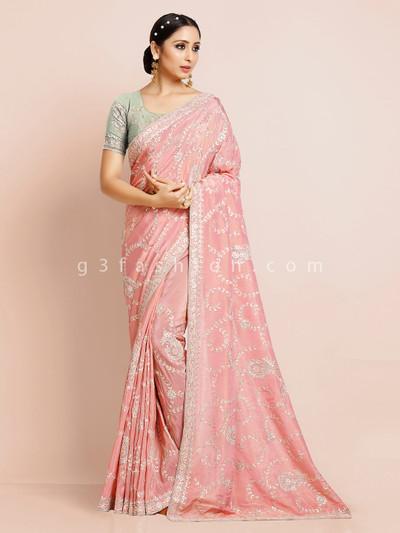 Premium pink cotton silk saree for wedding