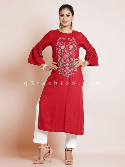 Pretty cotton causal solid kurti in maroon