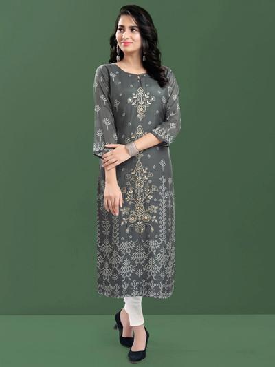Pretty cotton causal wear printed kurti in grey
