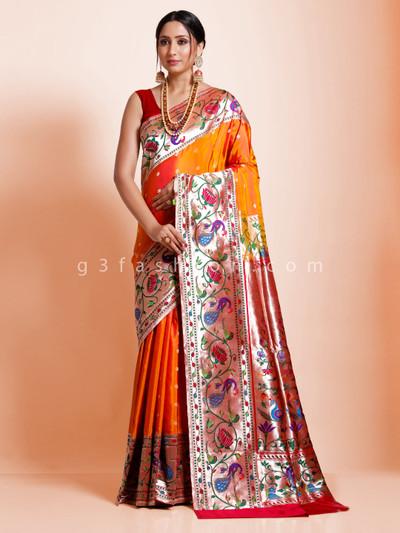 Pretty look bridal wear orange banarasi paithani silk saree