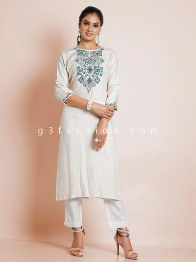 Pretty off white causal look kurti in cotton