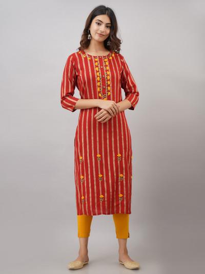 Pretty orange stripe casual look kurti in cotton
