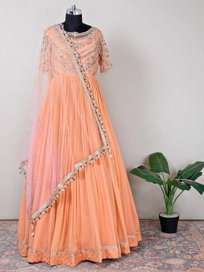 Pretty peach net reception wear anarlkali suit