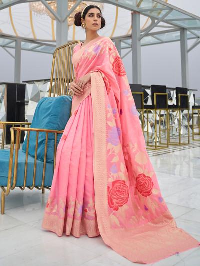 Pretty pink art silk saree for wedding occasions