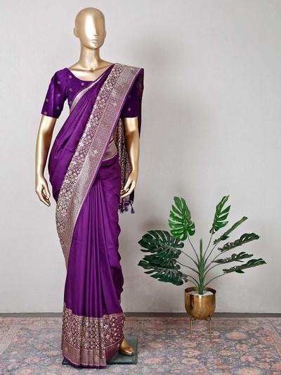 Pretty raw silk violet wedding saree