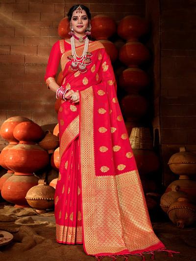 Pretty red colored banarasi silk saree
