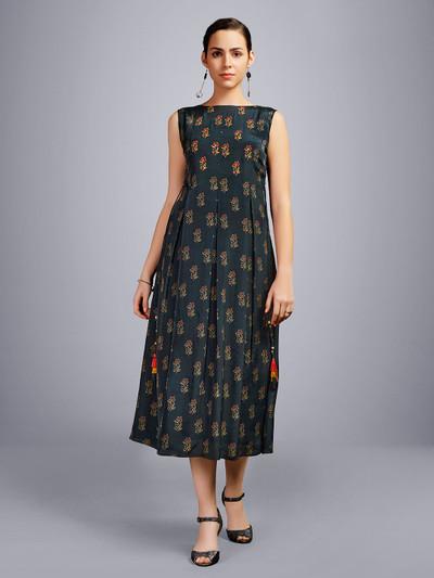 Printed black cotton kurti design