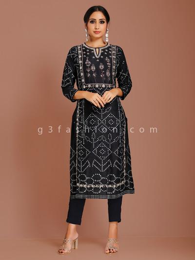 Printed black cotton silk kurti