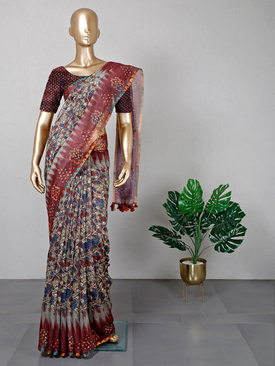 Printed brown colored saree in cotton