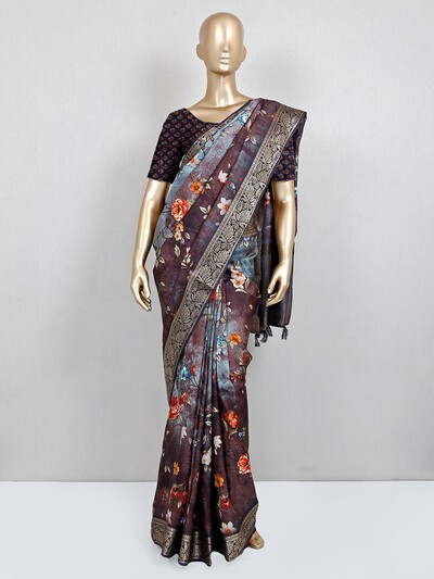 Printed brown colour saree in cotton