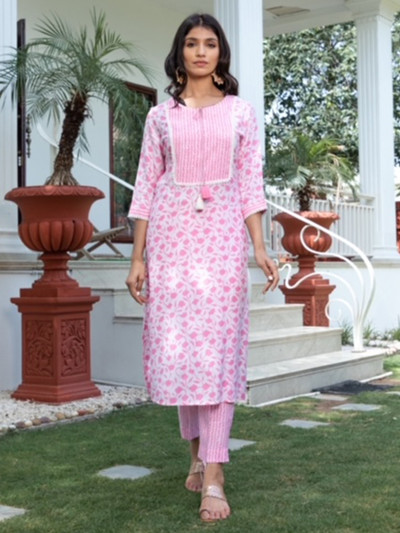 Printed causal wear woemn pink cotton pant suit