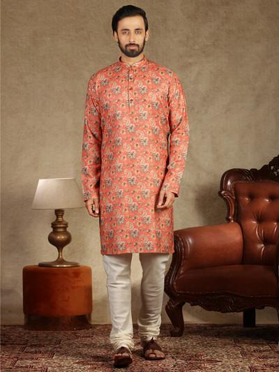 Printed coton kurta sut in Orange