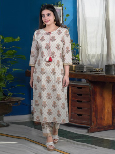 Printed cream cotton causal wear pant suit