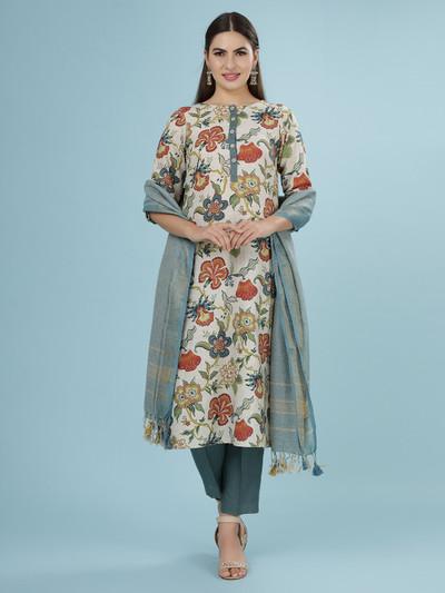 Printed cream linen tunic