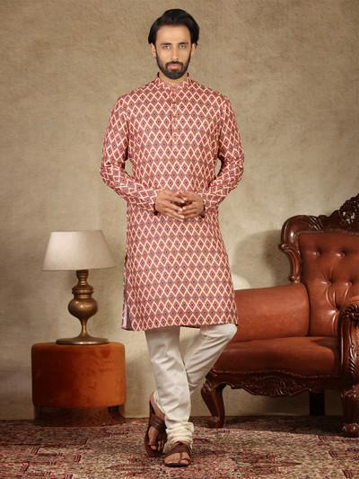 Printed cream mens kurta suit in cotton