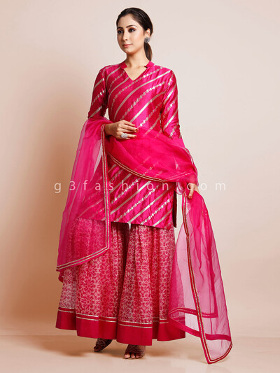 Printed georgette sharara with cotton silk kameez in magenta color