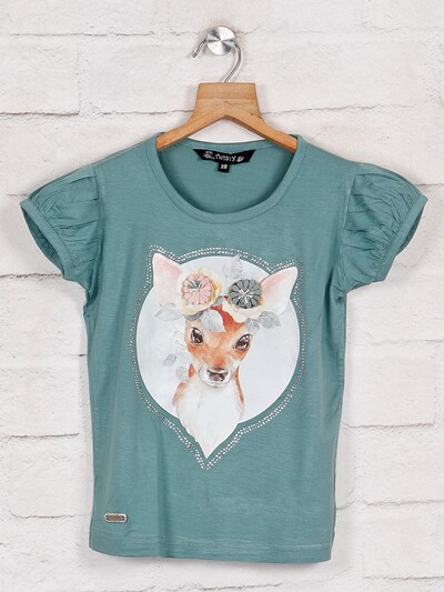 Printed green cotton casual top for girls