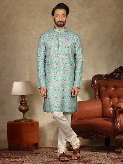 Printed green cotton mens kurta suit
