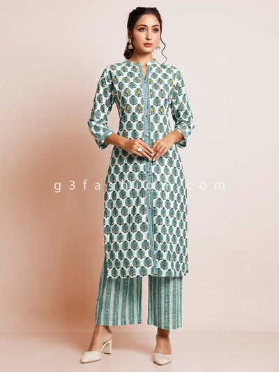 Printed green cotton suit