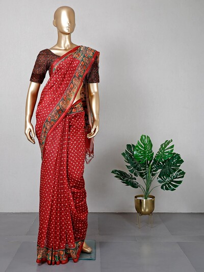 Printed maroon colored cotton saree for festive