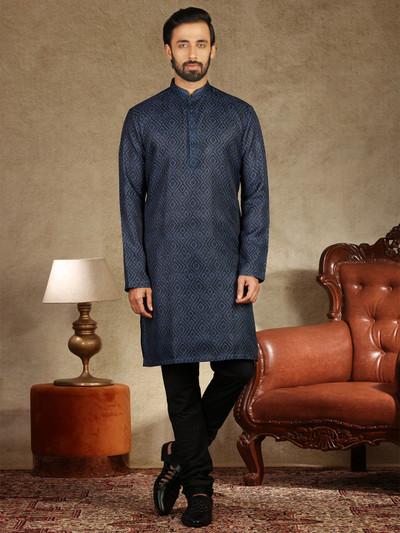 Printed navy cotton mens kurta suit
