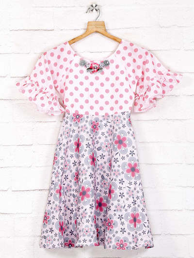Printed pink cotton casual frock