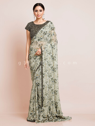 Printed pista green georgette saree with readymade blouse