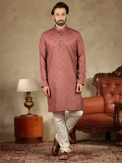 Printed sand stone pink mens kurta suit in cotton