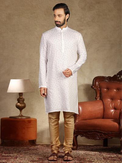 Printed white linen stand collar kurta suit