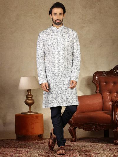 Printed white mens kurta suit in cotton