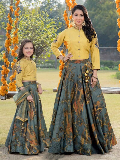 Printed yellow and blue combo mother daughter lehenga choli