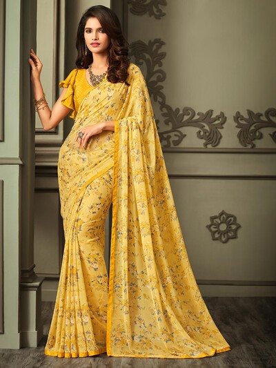 Printed yellow saree in georgette