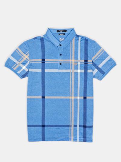 Psoulz blue checks casual polo t-shirt