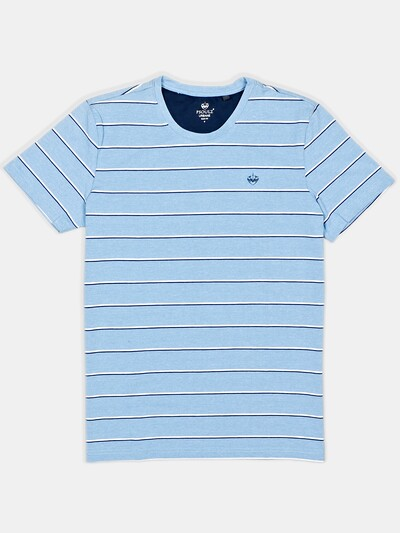 Psoulz mens stripe blue polo t-shirt