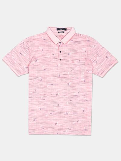 Psoulz pink printed slim fit cotton polo t-shirt