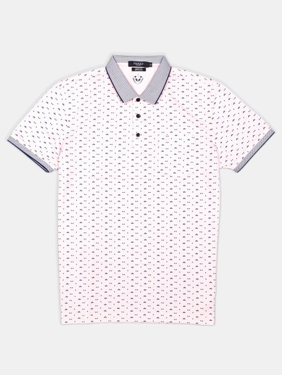 Psoulz printed pink colour cotton polo t-shirt